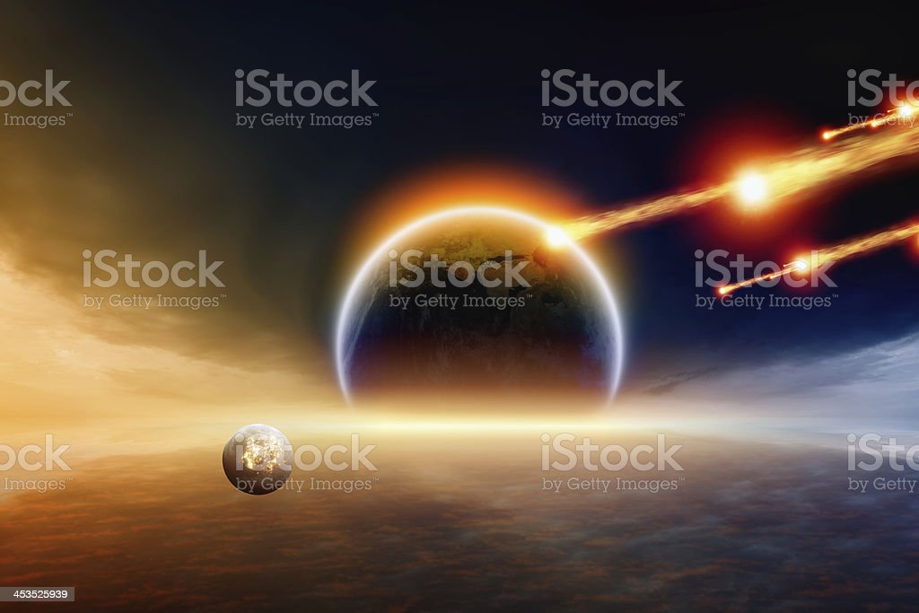 Meteors flying towards the earth and would hit with a impact stock photo