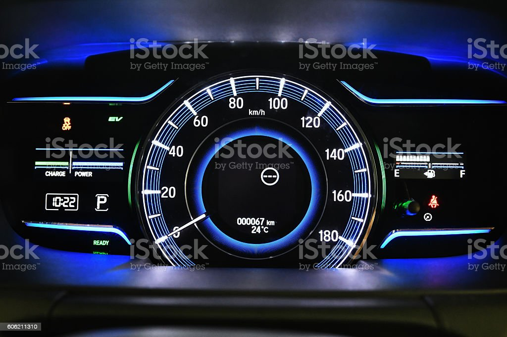 Meter of hybrid car stock photo