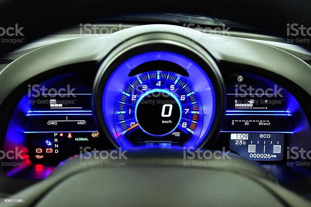 Meter of hybrid car stock photo