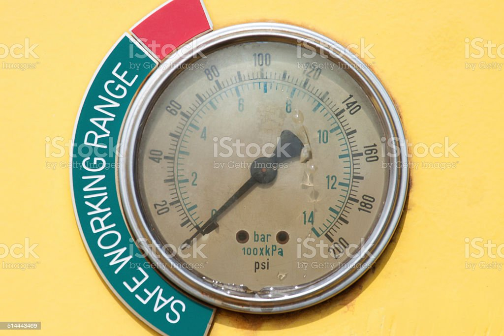 Meters or gauge in crane cabin for measure stock photo