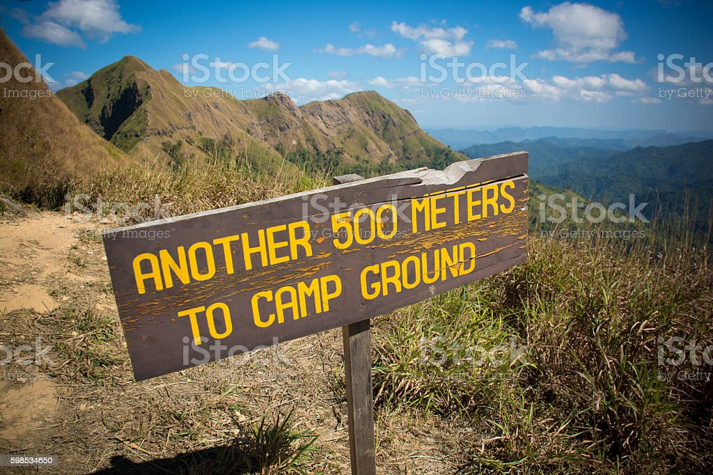 500 meters to camp ground notice stock photo