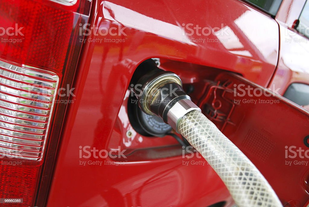 Methane car fueling royalty-free stock photo