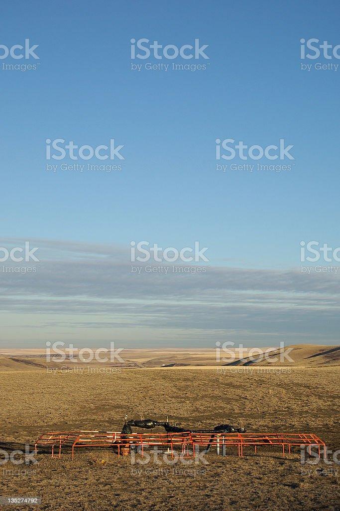 Methane Gas pump on the prairies. stock photo