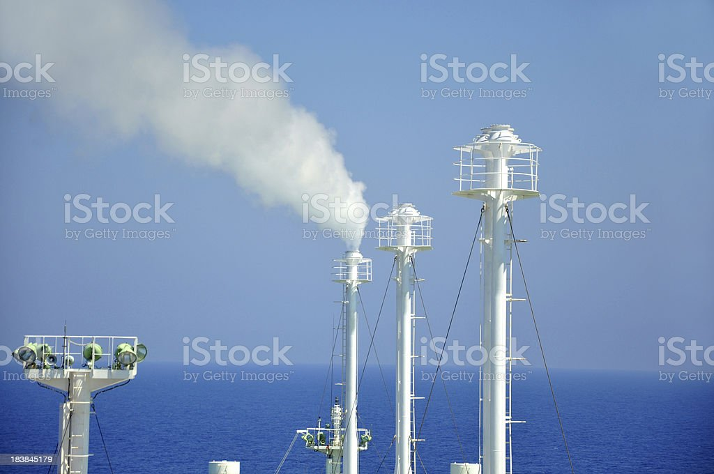 Methane venting - LNG tanker royalty-free stock photo