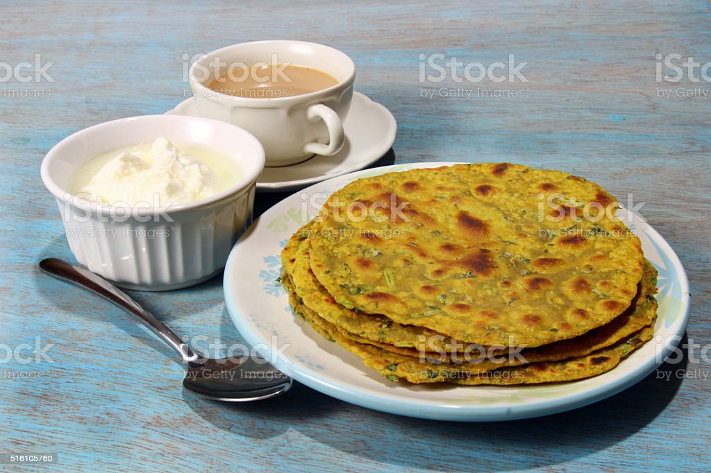 Methi Paratha stock photo
