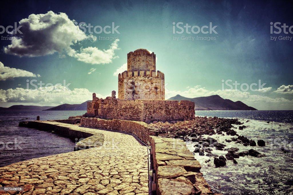 Methoni castle stock photo