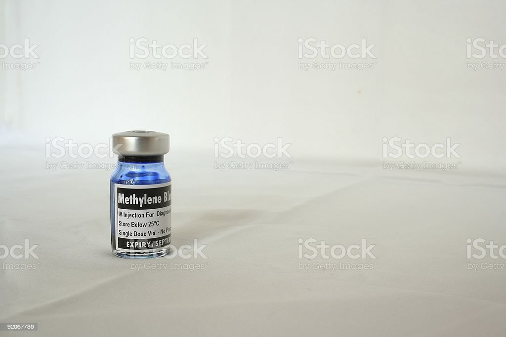 Methylene blue, bottle. stock photo