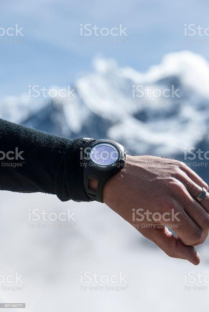 4105 metres at Annapurna base camp stock photo