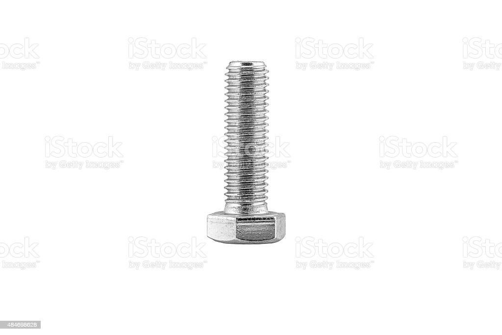 metric steel screw, isolated on white background stock photo