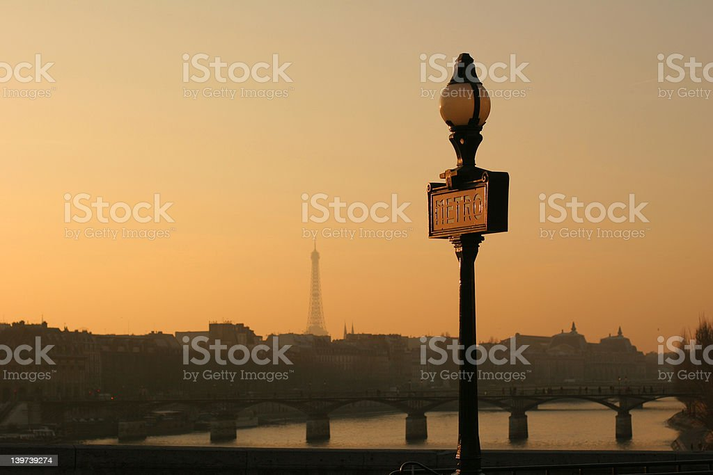 Metro and Eiffel Tower royalty-free stock photo