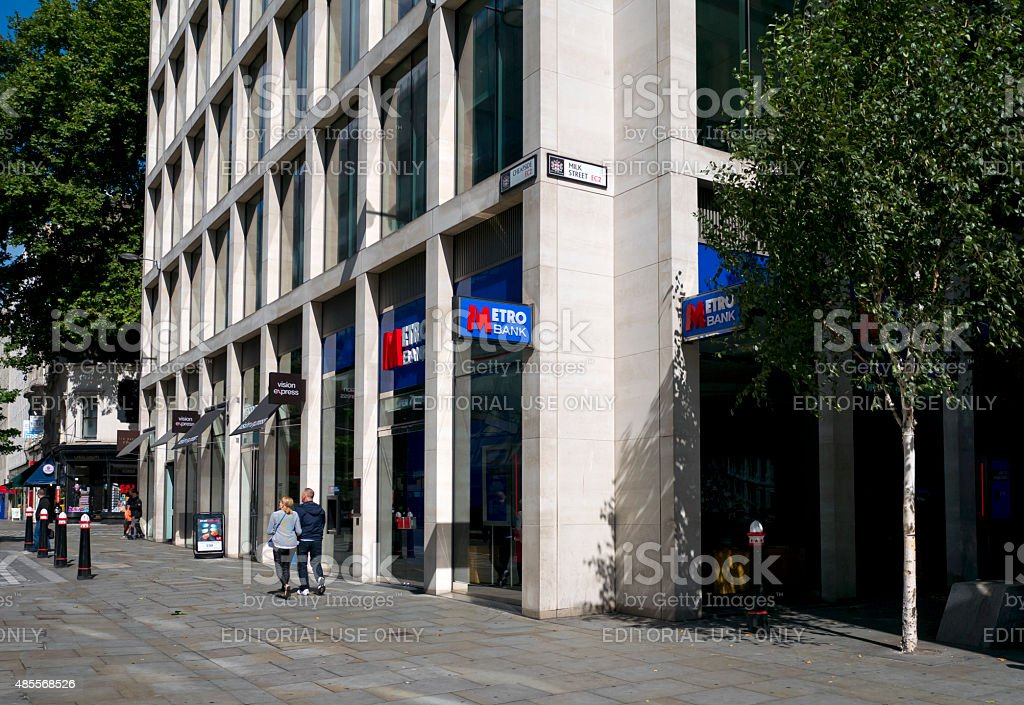 Metro Bank branch in the City of London stock photo