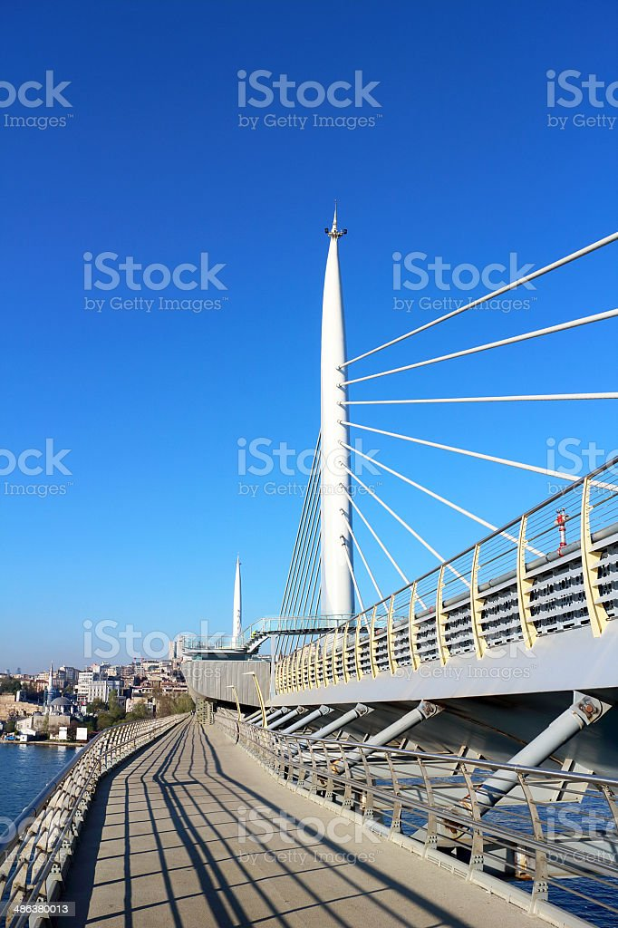 Metro Bridge in Golden Horn in Istanbul royalty-free stock photo