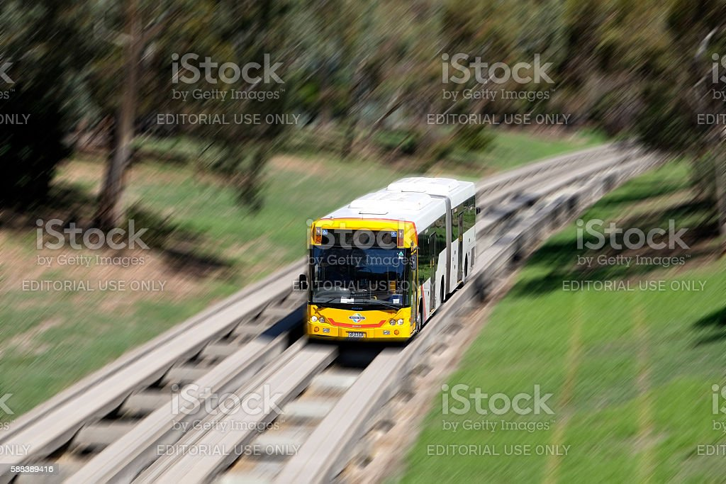 Metro Bus travelling along Adelaide O-Bahn guided busway at speed stock photo