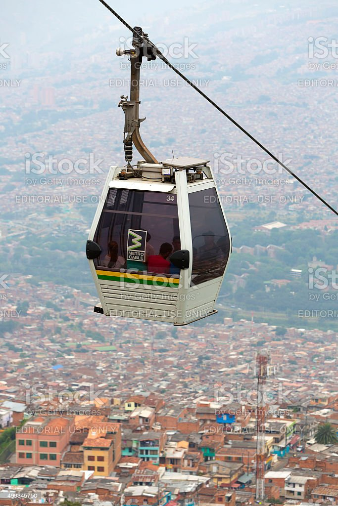 Metro cable and cityscape of Medellin in Colombia stock photo