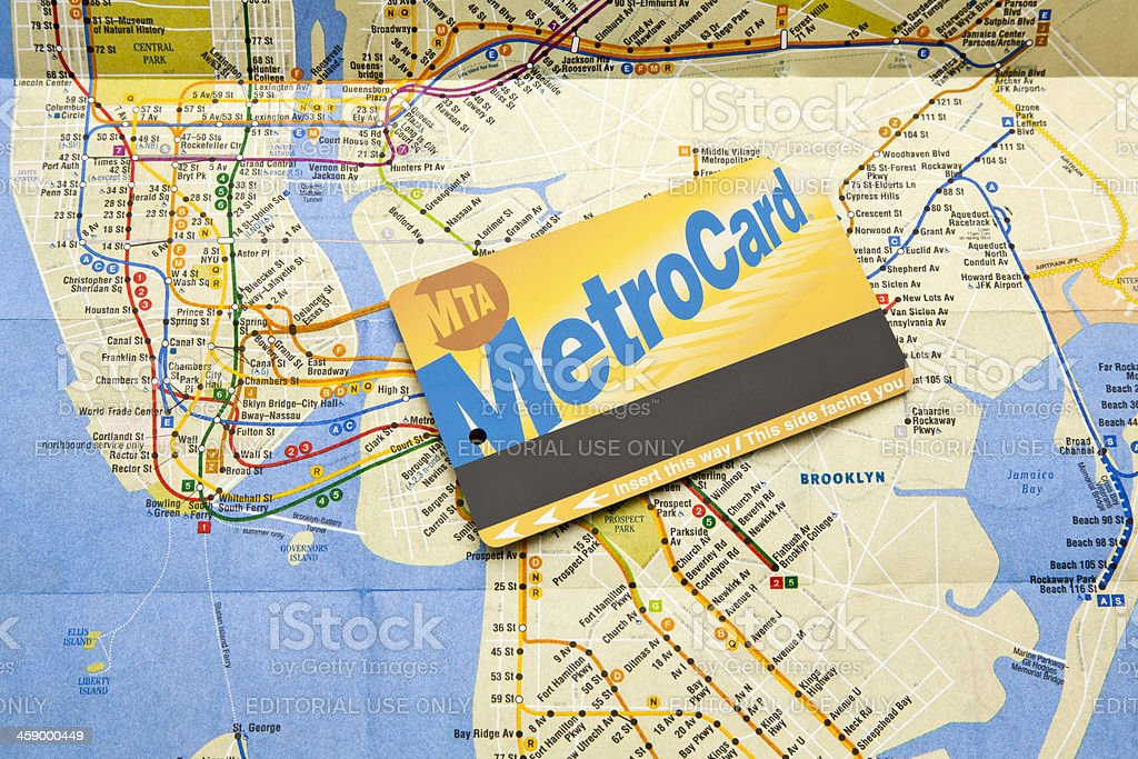 MTA metro Card with Network Map royalty-free stock photo