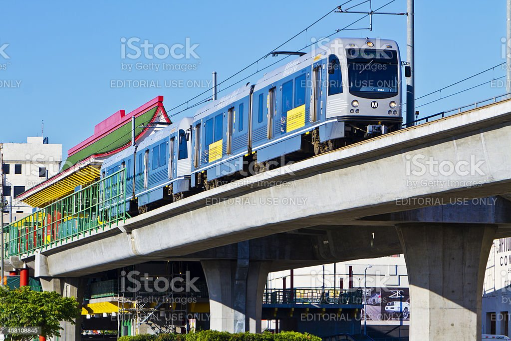 Metro Gold Line Train Depart Chinatown Station stock photo