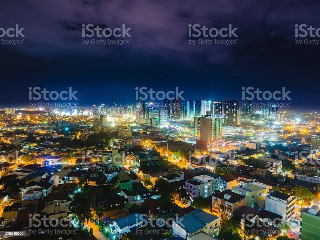 Metro Manila skyline at night stock photo