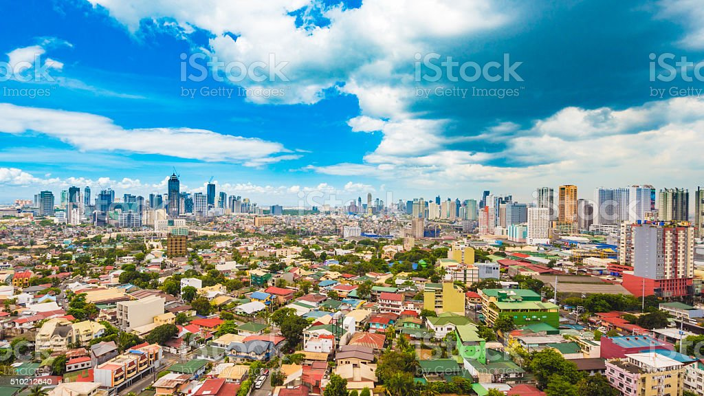 Metro Manila skyline during the day stock photo