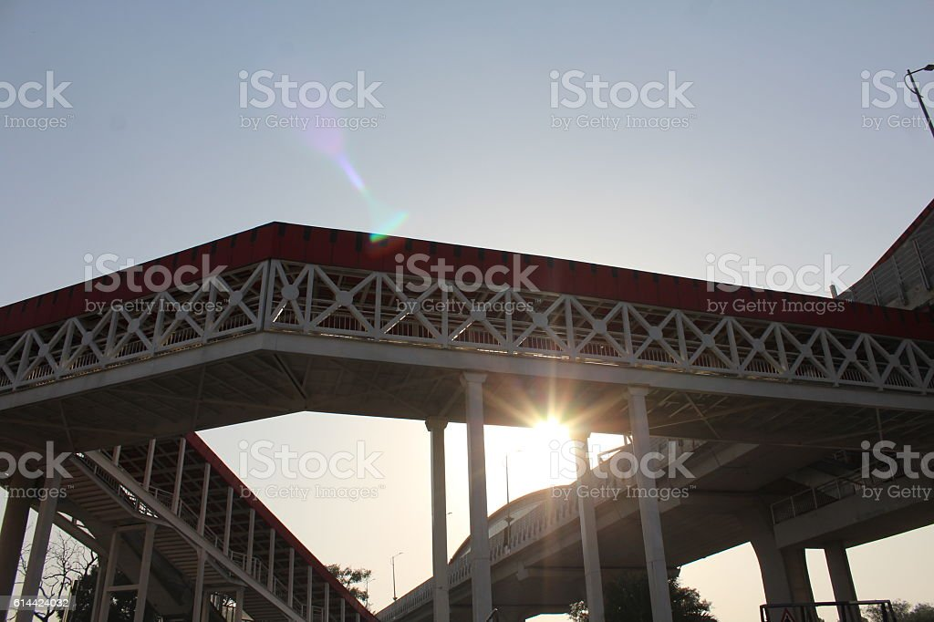 Metro over head bridge stock photo
