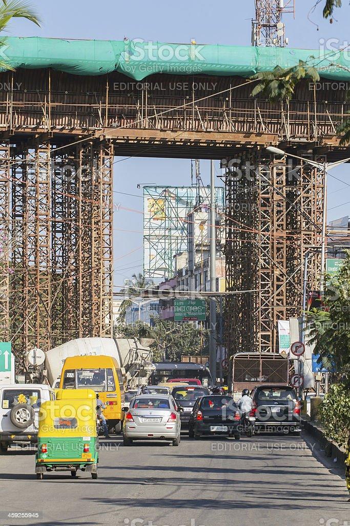 Metro rail construction in Bangalore, India royalty-free stock photo