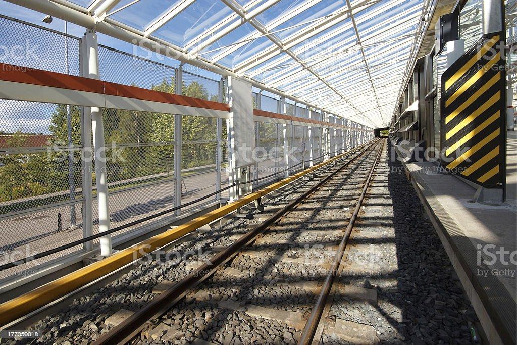 Metro railway with electric rail royalty-free stock photo