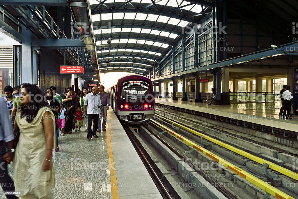 metro railwaystation in bangalore stock photo