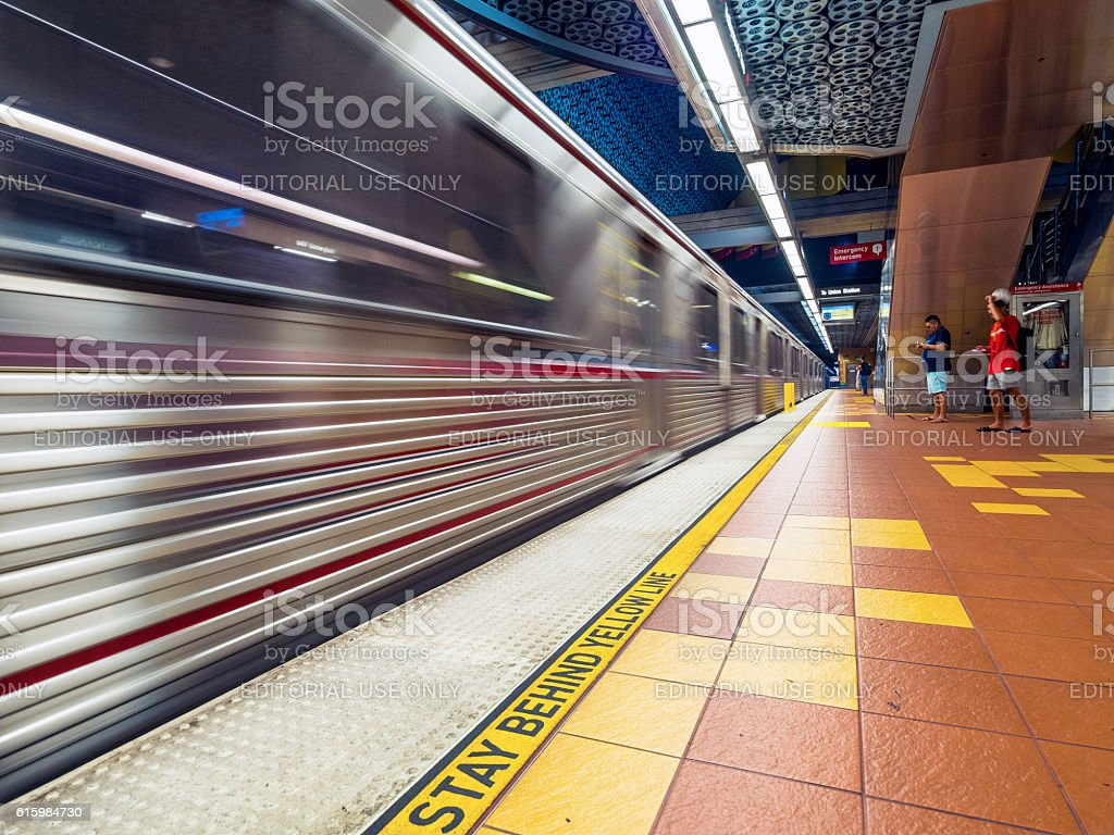 Metro Red Line arriving at the Hollywood and Vaine station stock photo