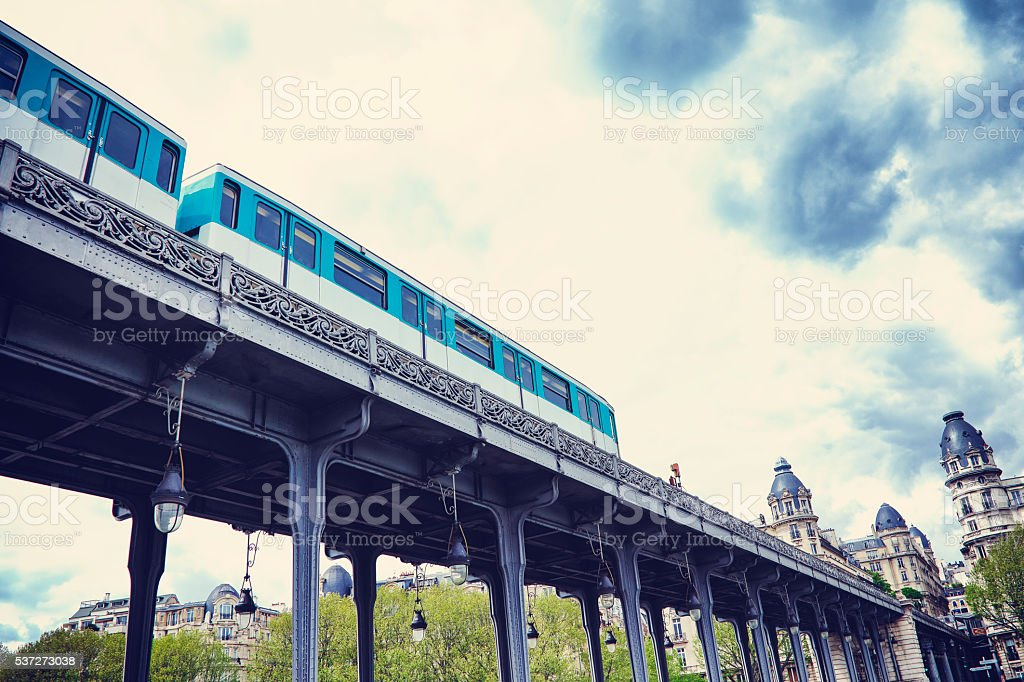 Metro running along Viaduc de Passy on Pont de Bir-Hakeim stock photo