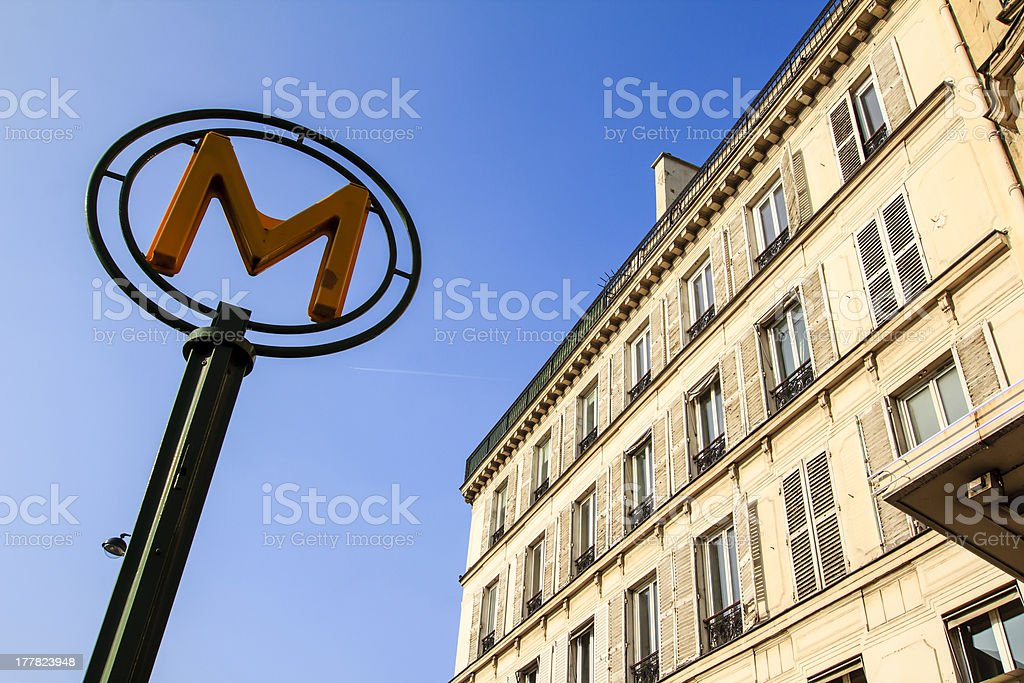 Metro sign in Paris, France royalty-free stock photo