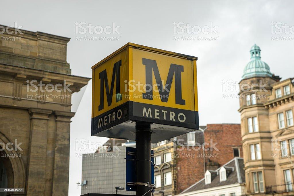 Metro sign post stock photo