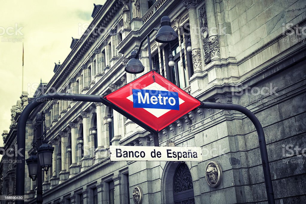 Metro station at the Spanish Bank in Madrid stock photo