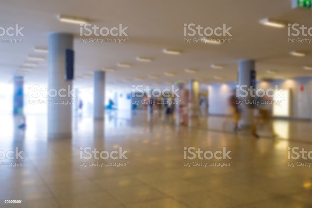 Metro station blurred with crowd of people stock photo