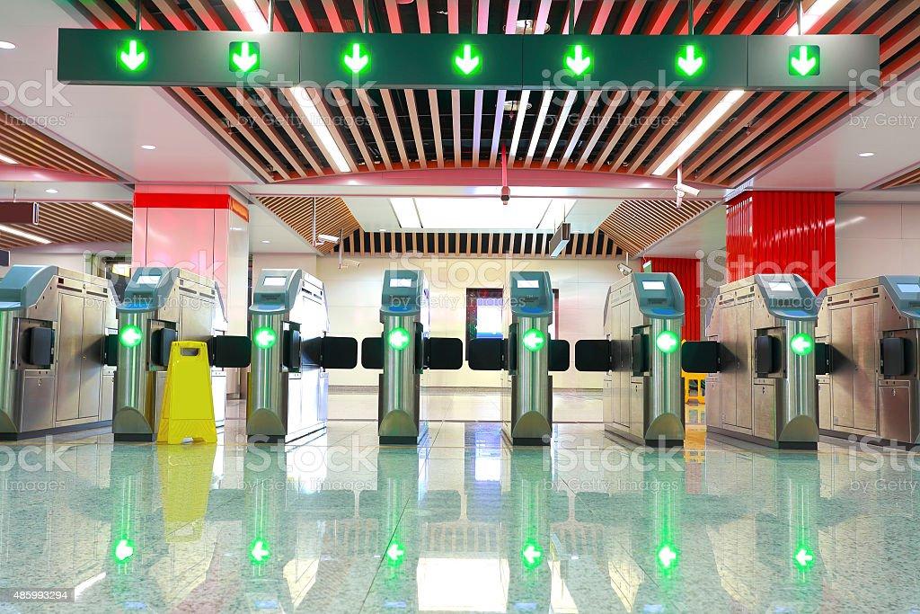 metro station brake machine turnstile gate stock photo