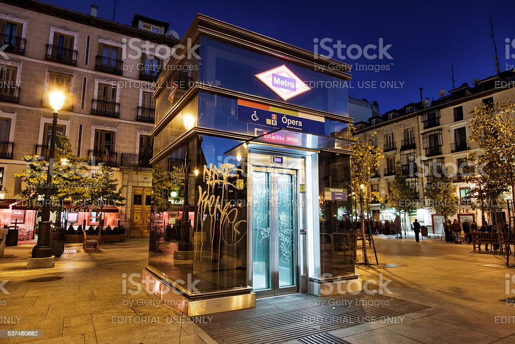 Metro station elevator entrance. Madrid, Spain stock photo