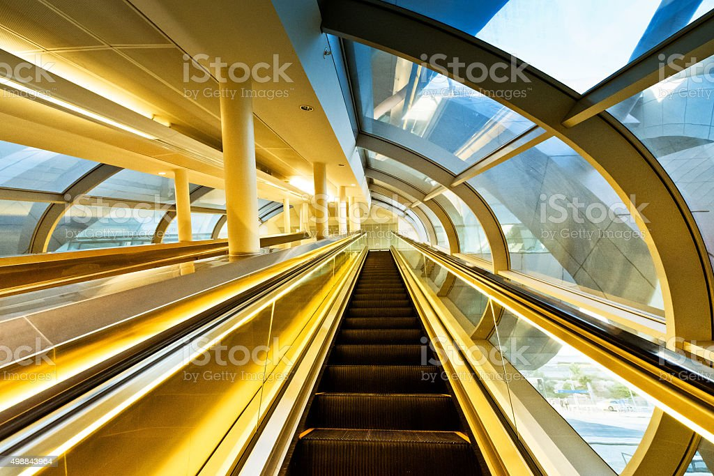 Metro Station escalator in Dubai stock photo