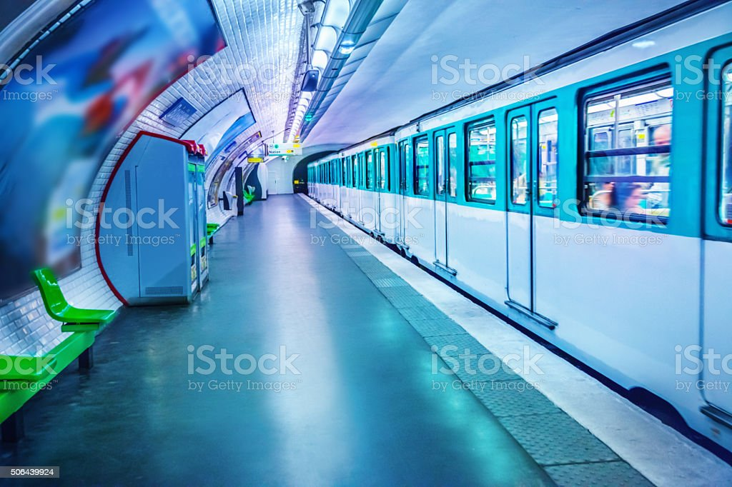 Metro station in Paris stock photo