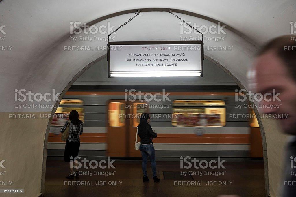 Metro station in Yerevan, Armenia stock photo