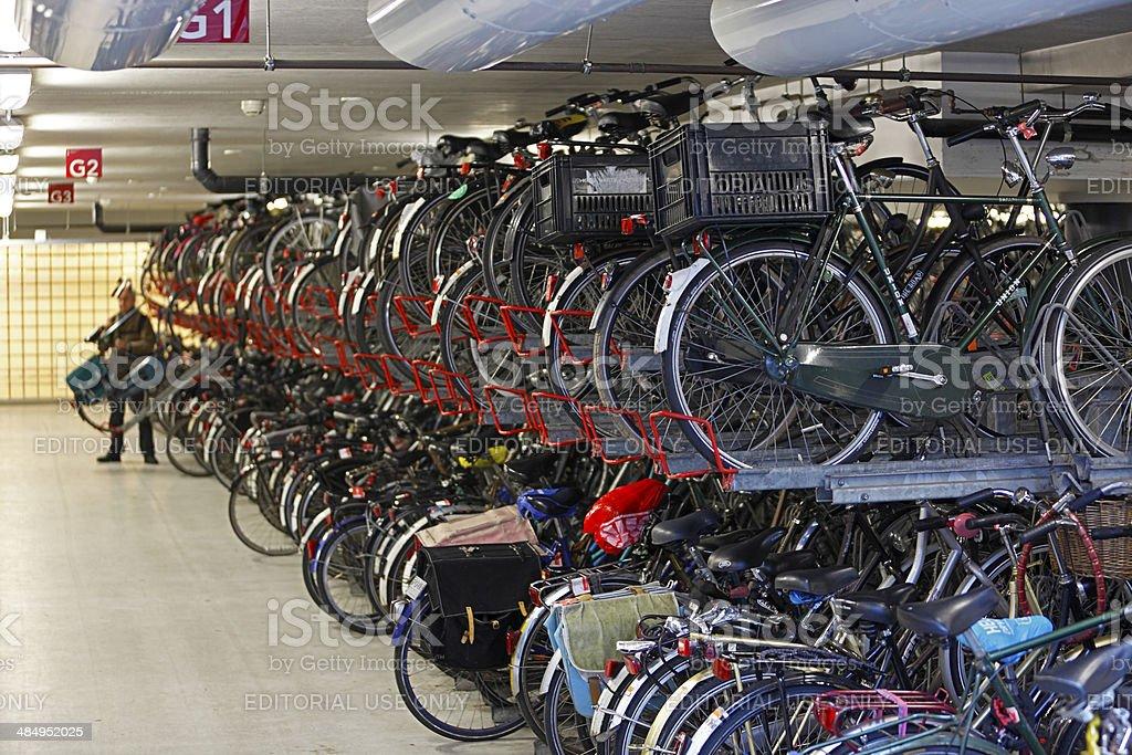 Metro Station multi-level bike park, Amsterdam stock photo