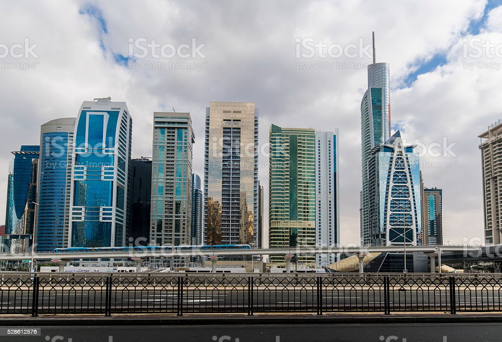 Metro station next to Sheik Zayed road in Dubai, UAE stock photo