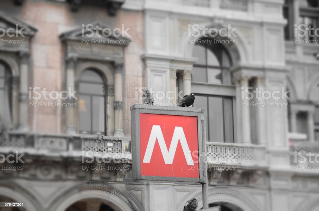 Metro Station sign stock photo
