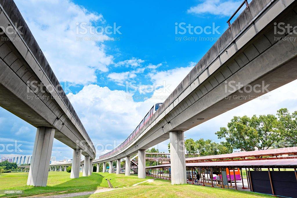 Metro subway train on elevated railway, Singapore stock photo