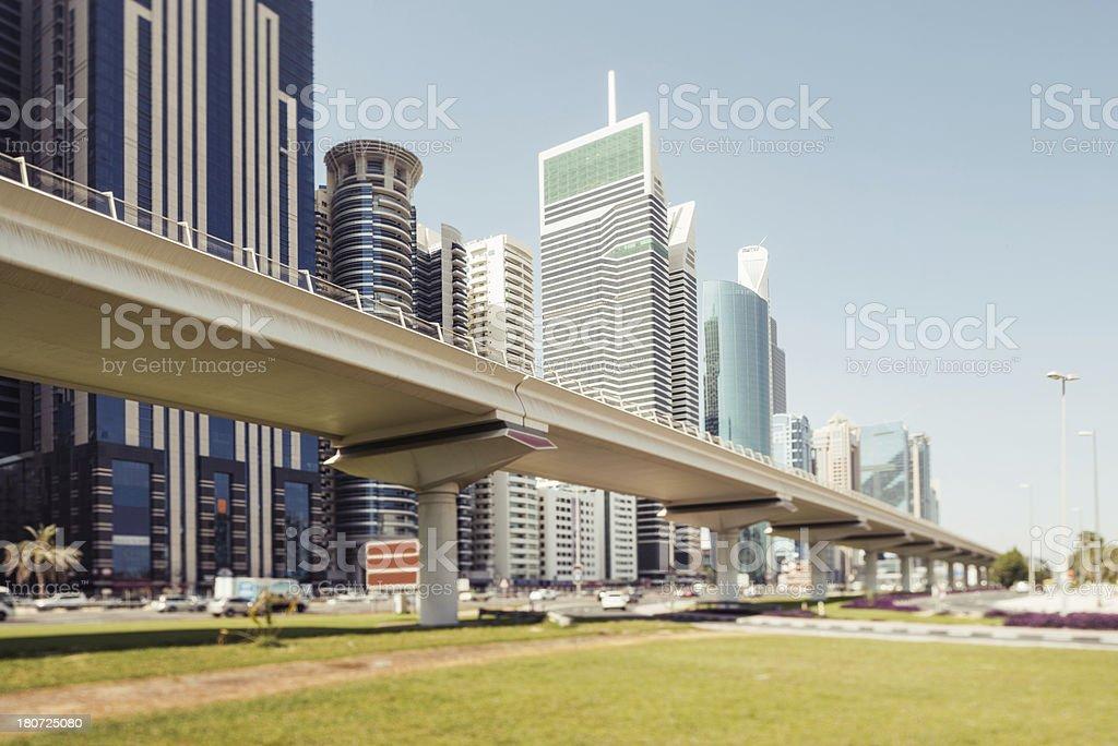 Metro track downtown Dubai royalty-free stock photo