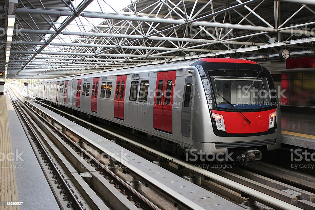 Metro train at the subway station stock photo