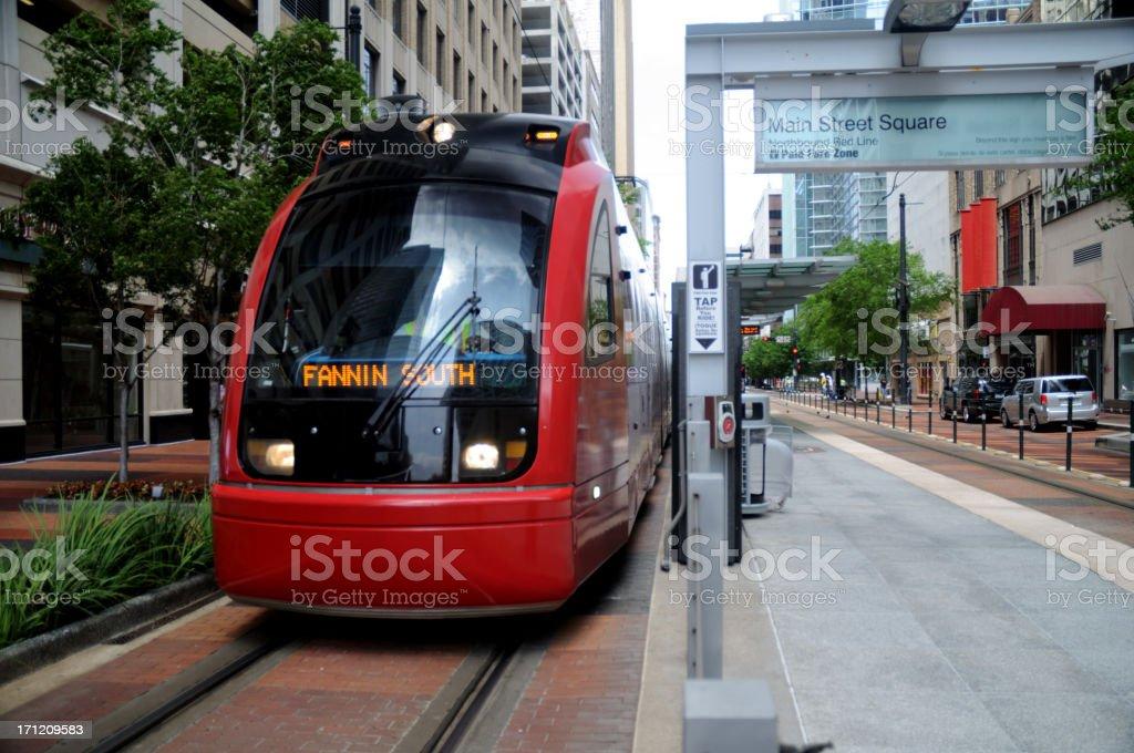 Metro Train In Downtown Houston, Texas stock photo