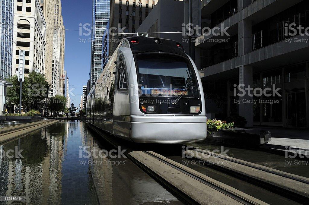 Metro Train in Downtown Houston, Texas royalty-free stock photo