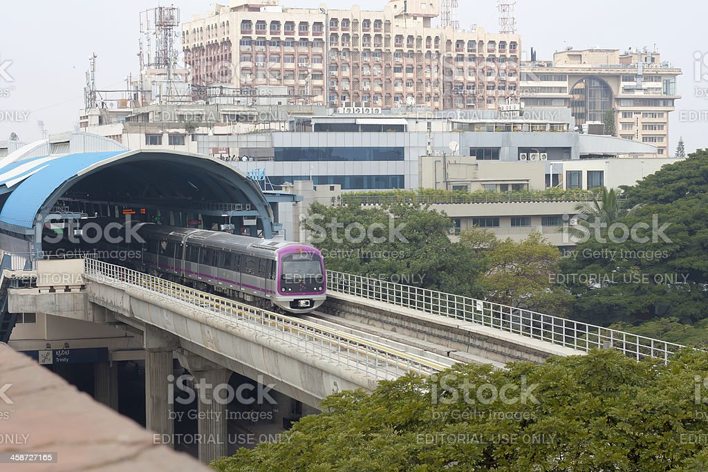 Metro train moves out of station in Bangalore, India royalty-free stock photo