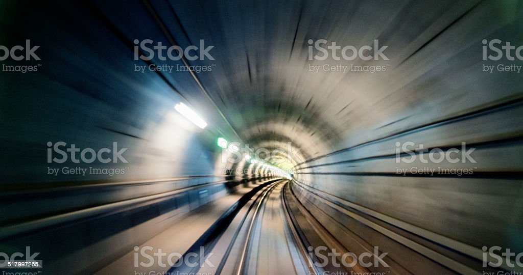 Metro tunnel, blurred motion stock photo