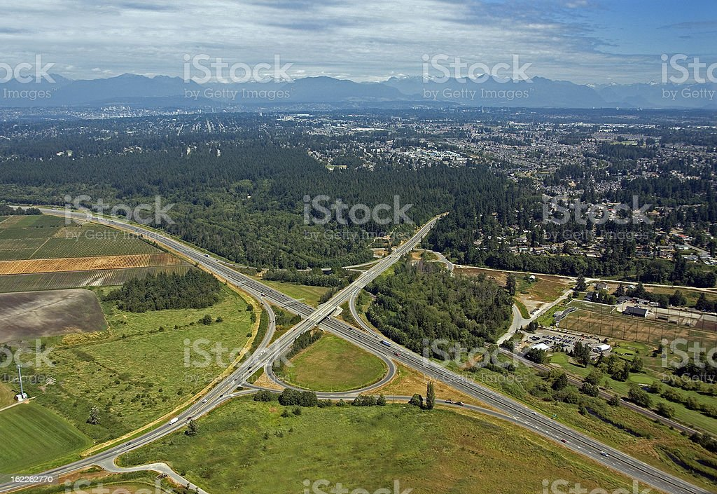 Metro Vancouver and Highway stock photo