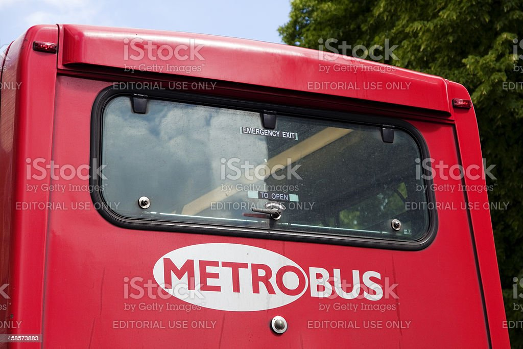 Metrobus logo on the back of a red bus stock photo