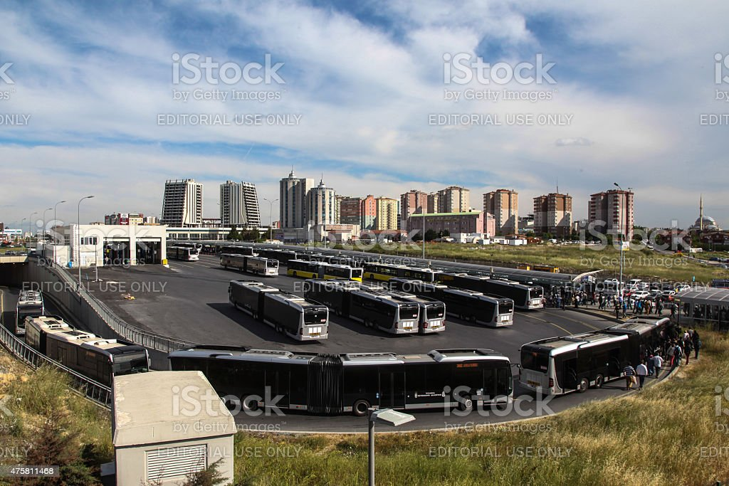 Metrobus Station in Istanbul stock photo